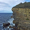 24 July 2015: Sea cliff near the Devil's Kitchen, near Eaglehawk Neck, on the Tasman Peninsula, Tasmania.