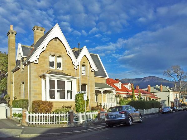 25 July 2015: Saturday morning streetscape with Mount Wellington @ Battery Point, Hobart, Tasmania.