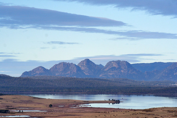 28 July 2015: View across Moulting Lagoon, at the northern extremity of Great Oyster Bay, towards the Freycinet Peninsula, Tasmania.