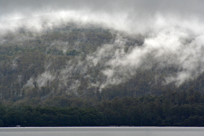 9 April 2017: Low cloud over Lake St, Clair, Tasmania.