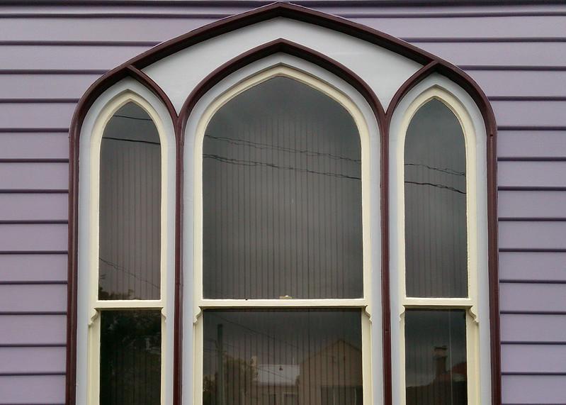 9 April 2017: Window detail, De Witt Street, Sandy Bay, Hobart, Tasmania.