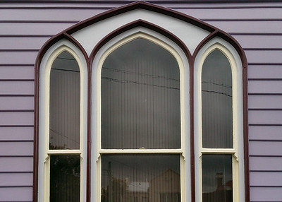 9 April 2017: Window detail, De Witt Street, Sandy Bay, Hobart, Tasmania.