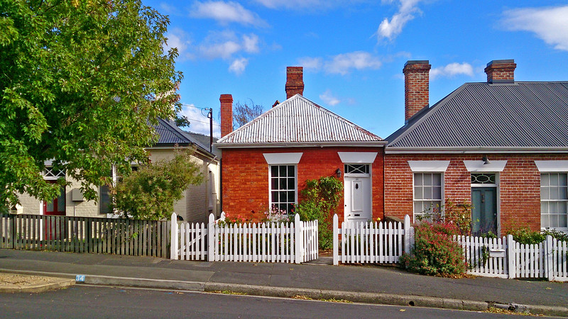 2 April 2017: Mid 19th Century cottages, De Witt Street, Sandy Bay, Hobart, Tasmania.