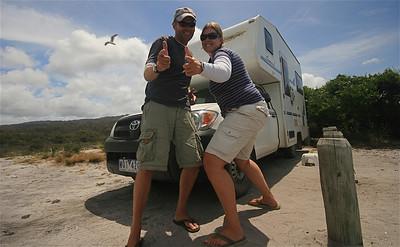 Vrij kamperen bij Swimcart Beach. Binalong Bay, Tasmanië, Australië.
