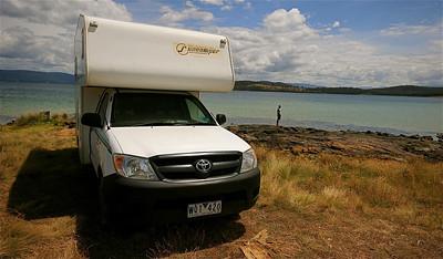 Vrij kamperen. Bruny Island, Tasmanië, Australië.