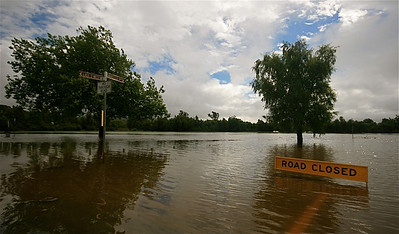 Flash floads @ river Mersey. Latrobe, Tasmanië, Australië.