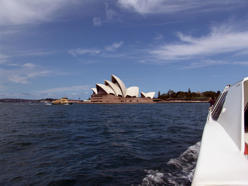 Sydney Opera House comes into view from a water taxi from Darling Harbor to Sydney Harbor.
