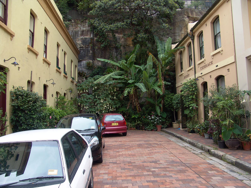 """Nice corner of the """"Rocks"""" area in Sydney.  Note the Bananas growing."""