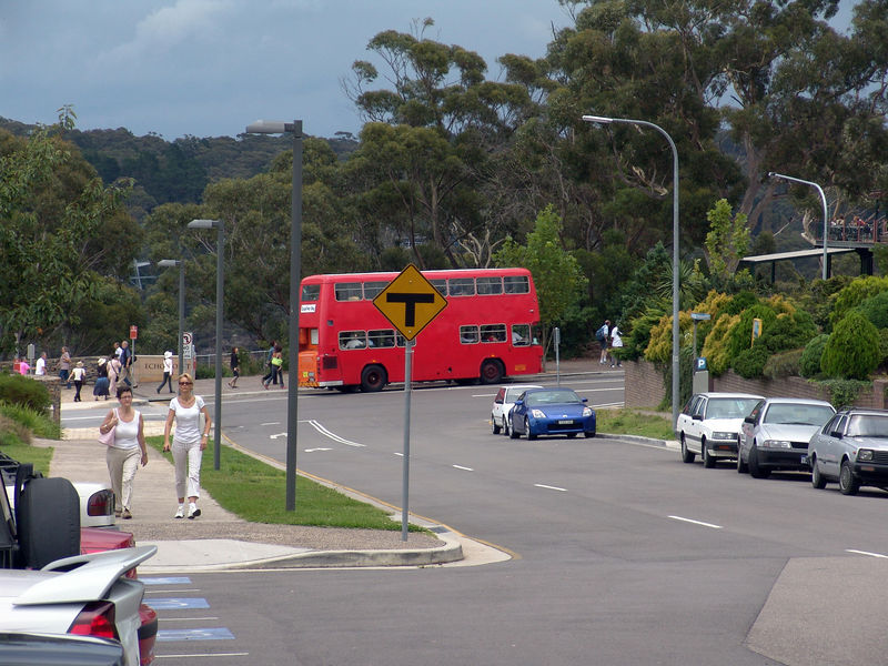 One of the double-decker that shuttles the tourists around the sites around Katoomba