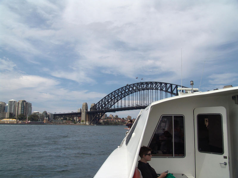 Sydney Harbor Bridge, NSW where you can take a tour to the top of the arch!  Yikes!