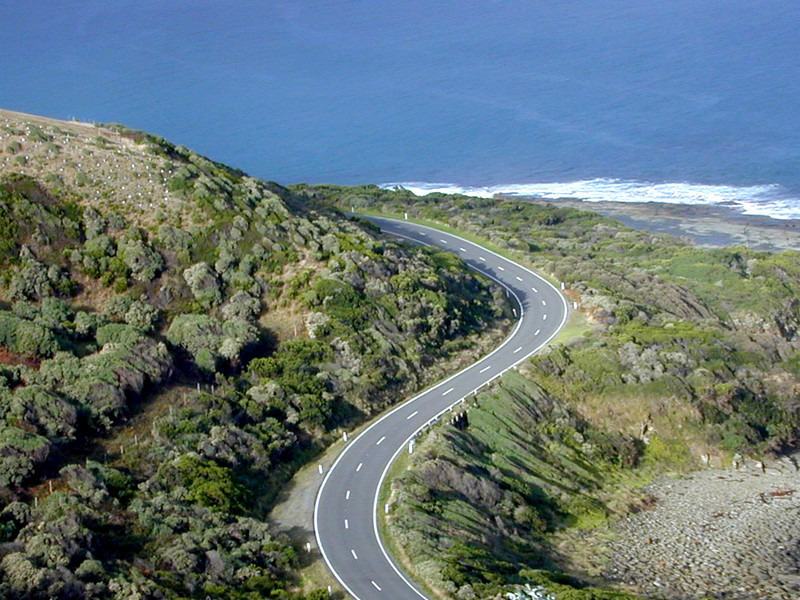S-bend on the Great Ocean Road at the northern end of Apollo Bay, Victoria.