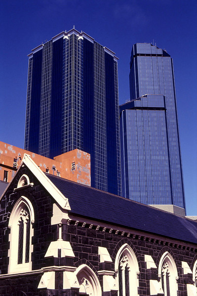 Sacred and profane in downtown Melbourne. The double-tower at right is the Rhialto - Melbourne's tallest building.
