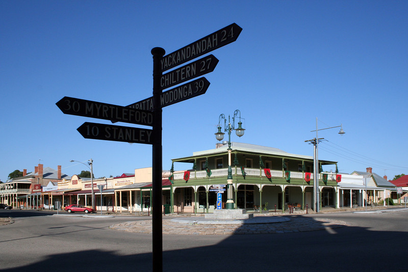 2 January 2012 @ Beechworth, Victoria: Signpost at the crossroads.