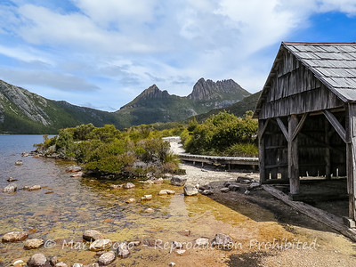 The boatshed on Dove Lake with Cradle Mountain in the background