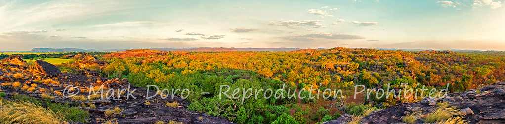 Sunset panorama looking out from Ubirr, Kakadu, Northern Territory