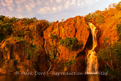 Sunset waterfall at Wangi Falls, Litchfield, Northern Territory