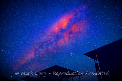 The Milky Way rising over the lodges at Wildman, Mary River, Northern Territory