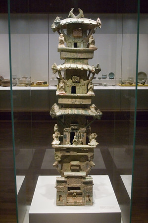 Tomb model of a watch tower China Eatern Han dynasty 25 - 220 CE Earthenware with green glaze Art Gallery of New South Wales Sydney, NSW Australia - 22 Jun 2006