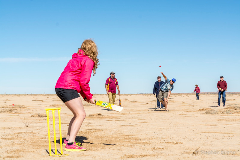 cricket at the world's largest claypan, Outback, QLD