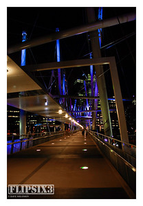 The Kurilpa footbridge, which shifts through a range of colours