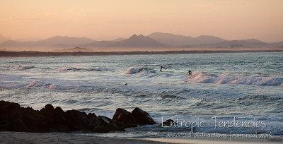 Byron Bay - surfers at dusk