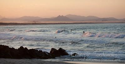 Byron Bay - surfers at dusk