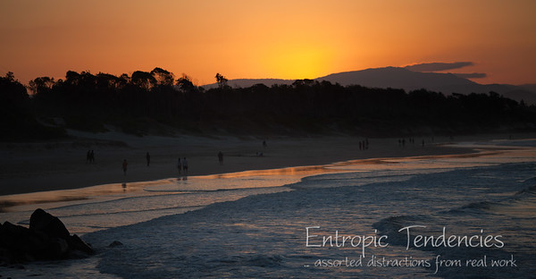 Sunset over the beach at Byron Bay