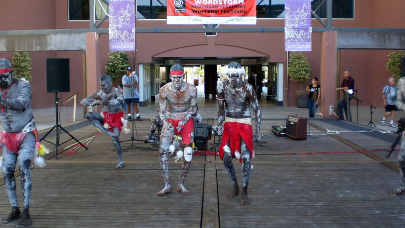 Aboriginals dancing outside the Convention Building in Darwin.