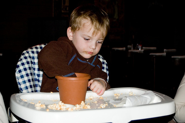 Cooper digging in the pop corns At the SSS restaurant Tamworth, New South Wales Australia - 16 Jun 006