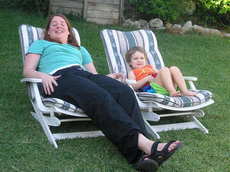 Holly and Abigail relaxing in the garden
