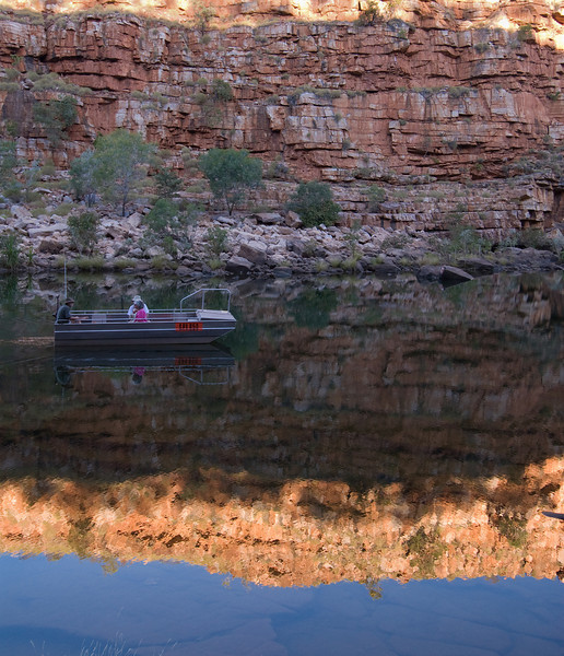El Questro ranger and guests taking boat tour of Chamberlain Gorge