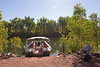 "The El Questro tour boat moored at the Chamberlain Gorge landing; artist in residence <a href=""http://www.byardart.com.au/"">David Byard</a> at work."