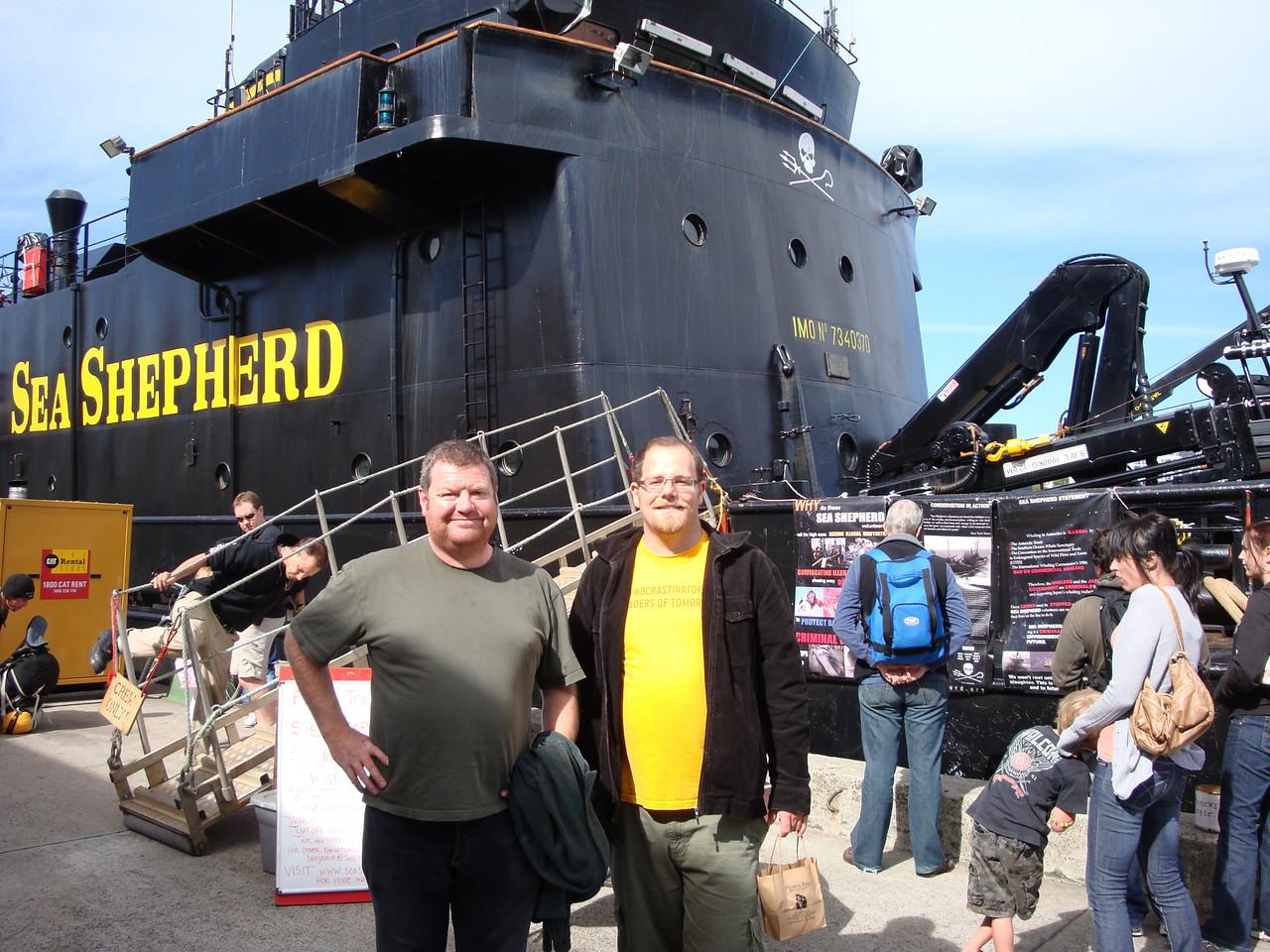 "Scott and Simon next to the Steve Irwin, <a href=""http://www.seashepherd.org/"">Sea Shepherd</a> ship."