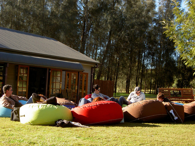 Awesome deli with beanbags on the lawn, in the glorious sun