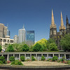 Melbourne skyline and St. Patrick's Cathedral<br /> (D200 with Nikkor 18-200VR at 18mm)<br /> <br /> Monday, Dec. 17, 2007