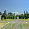 View of the Melbourne skyline from the Shrine of Remembrance War Memorial steps.<br /> <br /> December 17, 2007