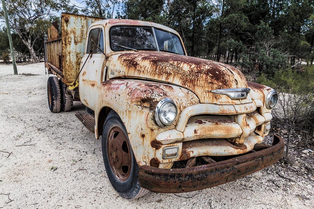 A rusty old Chev truck at Sheepyard opal fields (near Lightning Ridge Australia)