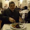 dad eating kangaroo steak