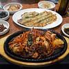 bbq baby octopus and vegi pancake at korean place alex took me to