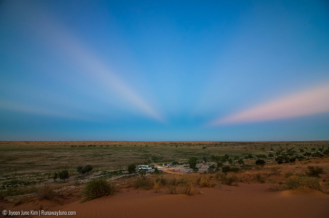 Characteristic sunset scene in the east sky in the Outback