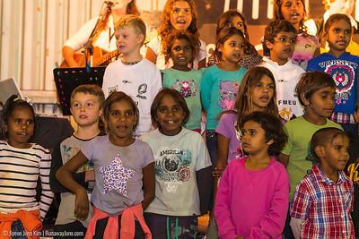 Boulia's school children performing for Trailblazer