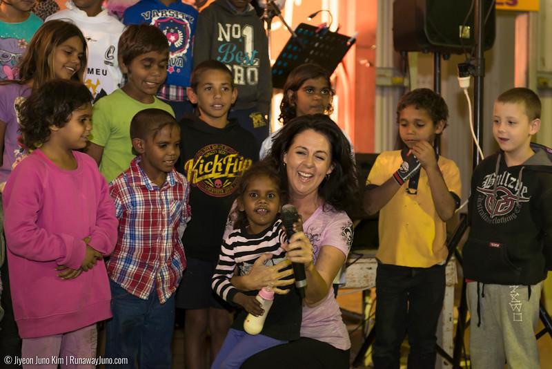 Singing with Boulia's school children