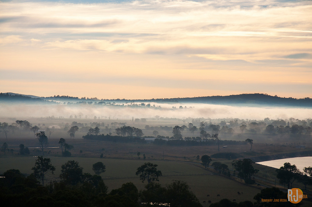Morning fog in the countryside of Gold Coast