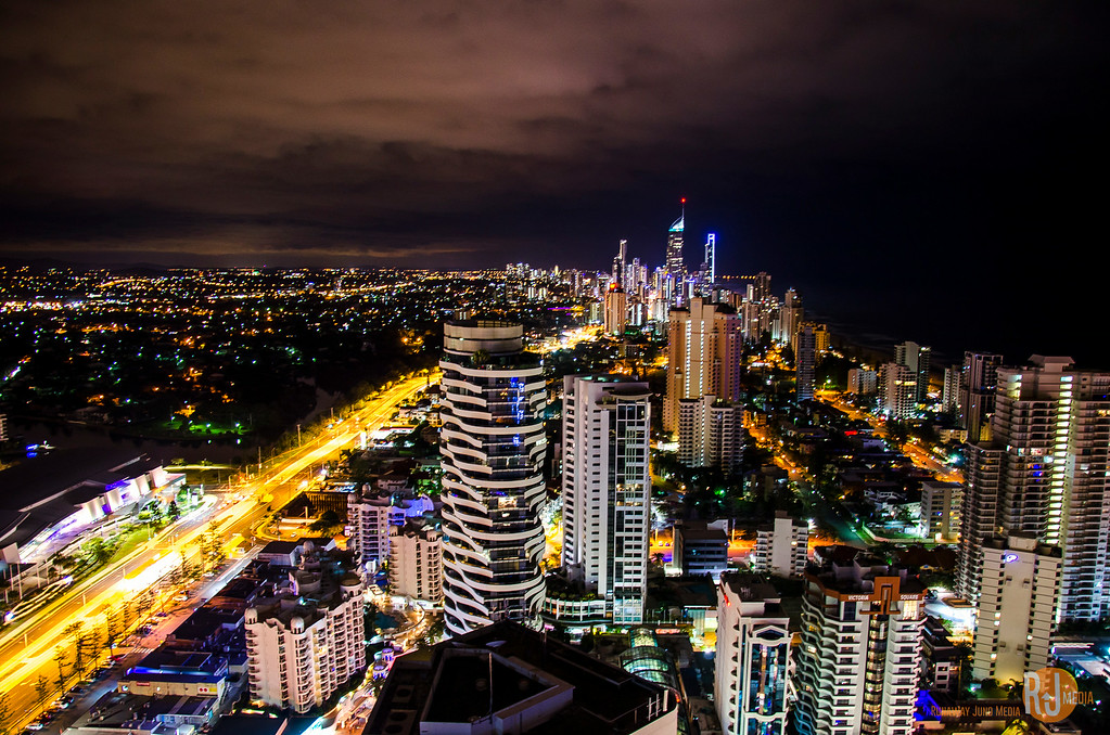 Surfer's Paradise and Gold Coast at night