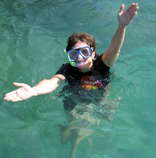 DT doing the chomp at the Great Barrier Reef, Green Island, Australia
