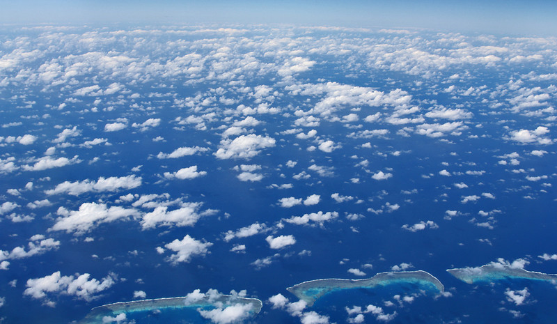 A portion of the Great Barrier Reef from above.
