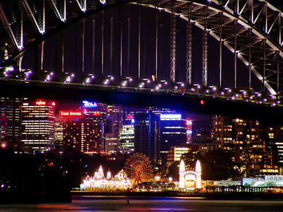 Luna Park and Sydney Harbour bridge at night