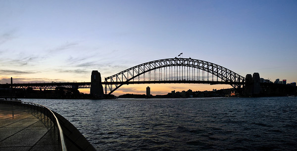 Sydney Harbour Bridge at sunset Sydney New South Wales Australia