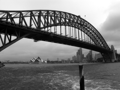 View of Sydney Harbour Bridge and Opera House from Luna Park.
