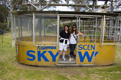 Gill and Lan in old sky lift carriage Scenic World Katoomba The Blue Mountains - NSW Australia - 6 oct 2005